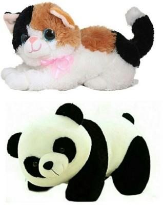 soniya enterprises soft toy panda 40cm and cat   40 cm Multicolor soniya enterprises Soft Toys
