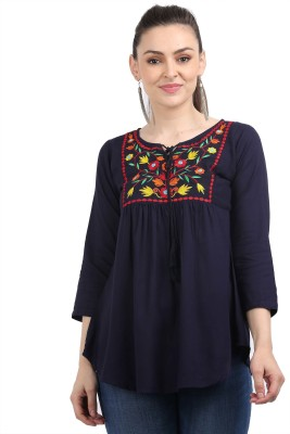 KARTX Casual 3/4 Sleeve Embroidered Women Dark Blue Top