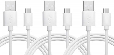 Wonder World ® Quick Charge Type-C Cable Fast Charging 3.1 A 1.5 m Copper Braiding USB Type C Cable(Compatible with Mobile Phones, Tablet, HDTV, Camcorder, DVD, TV, Dry White, Pack of: 3)