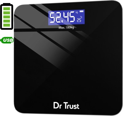 Dr. Trust (USA) Zen Rechargeable Digital Personal Weighing Scale Electronic Weight Machine For Human Body (USB Cable Included) Weighing Scale(Black)