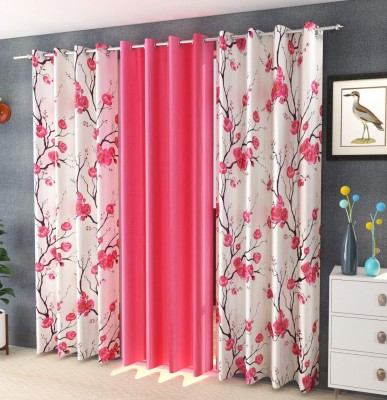 Guruh Homes 213.36 cm (7 ft) Polyester Door Curtain (Pack Of 3)(Floral, Pink)