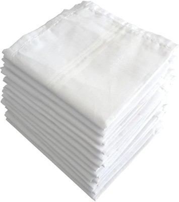 Akin 100% Cotton Premium Collection Handkerchiefs Hanky For Men - Pack of 12 - White XXL King Size. [