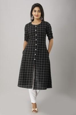 Mahageeta Women Checkered Frontslit Kurta(Black)