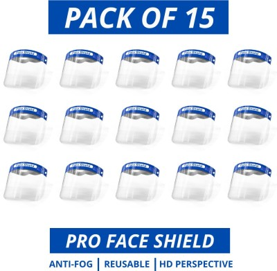 PRO Face Shield Mask -(Pack of 15) Full Face shield mask Reusable Medical use Anti-fog clear Lens Safety helmet Safety cap Safety Visor Safety Visor(Size - 33)