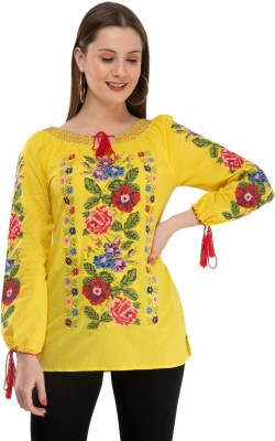 KartX Casual Full Sleeve Embroidered Women Multicolor Top