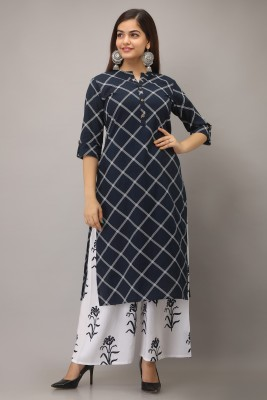 STYLE N SHADES Women Checkered Straight Kurta(Dark Blue)