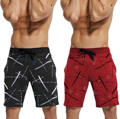 Tripr Printed Men Red, Black Regular Shorts