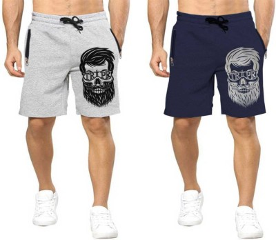 Tripr Printed Men Dark Blue, Grey Regular Shorts