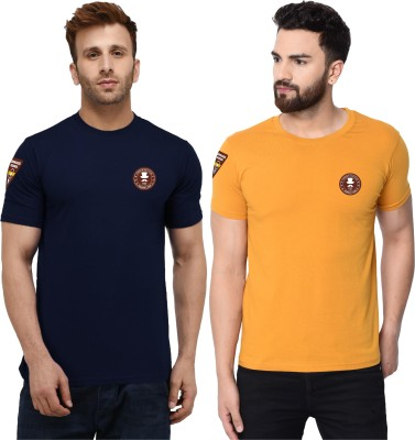 London Hills Solid Men Round Neck Blue, Yellow T-Shirt(Pack of 2)