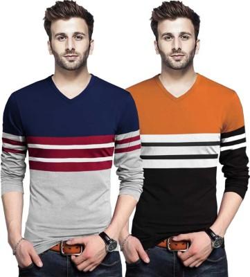 Tripr Color Block Men V Neck Multicolor T-Shirt(Pack of 2)