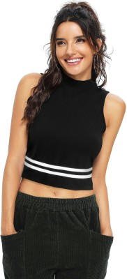 Lovespreadin Casual Sleeveless Striped Women Black Top