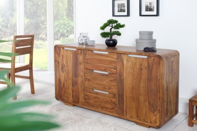 FURINNO Solid Wood Free Standing Cabinet(Finish Color - rustic teak)