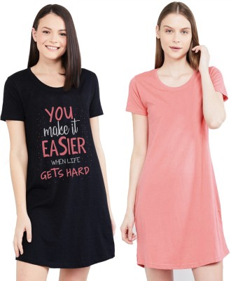 Young trendz Women Nighty(Black, Pink)