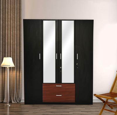 Barewether Engineered Wood 4 Door Wardrobe(Finish Color - Wenge with Walnut, Mirror Included, Knock Down)