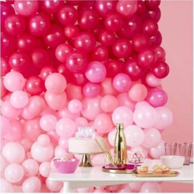 Anayatech Solid 100 piece Latex Balloon, Pink White Red Balloon(pack of 100) Balloon(White, Pink, Red, Pack of 100)