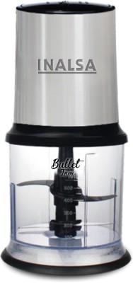 Inalsa Mini Chopper Bullet Inox-450W with Variable Speed &100% Pure Copper Motor|Dual Layered Blade & 500ml Capacity 450 W Chopper(Black/Silver)