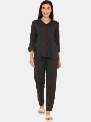 AR MART Women Self Design Grey Top & Pyjama Set