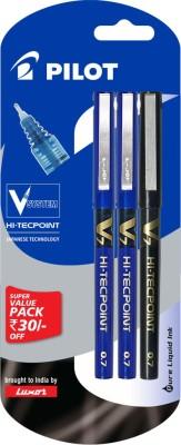 Pilot V7 Hi - Techpoint Pen (Pack of 3)(Pack of 3, Blue, Black)