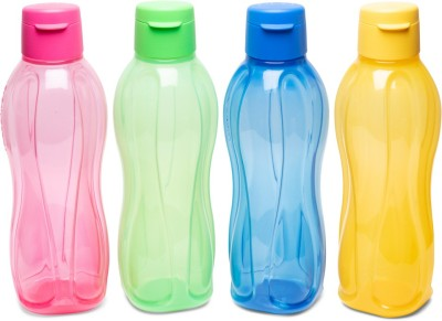 Tupperware Aquasafe Fliptop Bottle 4pc 1000 ml Bottle(Pack of 4, Pink, Blue, Yellow, Green, Plastic)