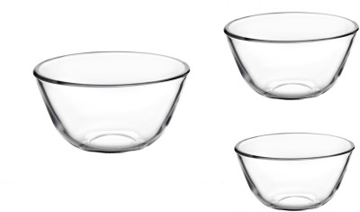 Signoraware Borosilicate Glass Mixing Bowl(Clear, Pack of 3)