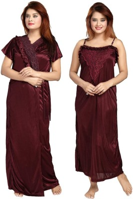 Zionity Women Nighty with Robe(Maroon)