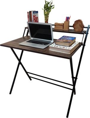 KRIJEN Duet Folding Space Saver Engineered Wood Study Table(Free Standing, Finish Color - Black)