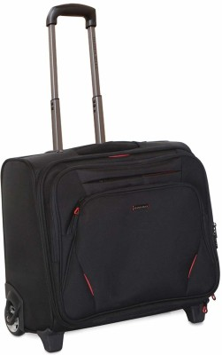 Nasher Miles Wall Street 2 Wheel 14 Polyester Black Laptop Roller Case  Black Red  Cabin Luggage   20 inch