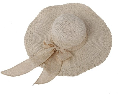 REHTRAD Straw Sun Hat Wide Large Brim Beach Floppy Oversize Fold Cap (Beige)(Beige, Pack of 1)
