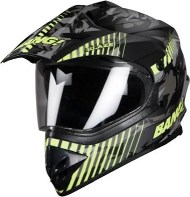 Steelbird SB-42 Bang Blaze Glossy Black With Neon Plus P-Cap Motorbike Helmet(Multicolor)