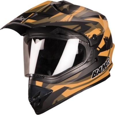 Steelbird SB-42 Bang Moonwalk Mat Black With Yellow Plus P-Cap Motorbike Helmet(Multicolor)