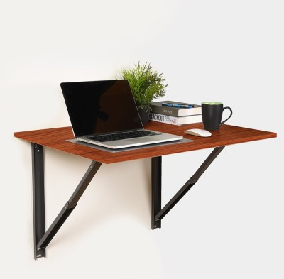 Forzza Oliver Engineered Wood Study Table(Wall Mounted, Finish Color - Teak)
