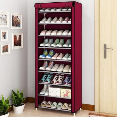 keekos Fabric Metal Collapsible Shoe Stand Plastic, Metal Collapsible Shoe Stand(Maroon, 9 Shelves)