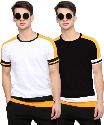Maniac Color Block Men Round Neck White, Black T-Shirt(Pack of 2)