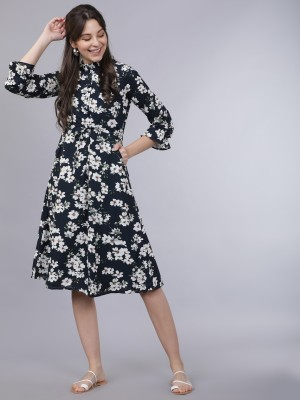 Tokyo Talkies Women Fit and Flare Blue Dress