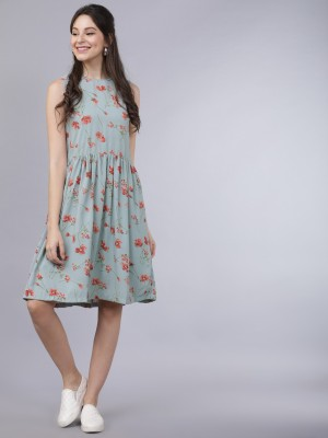 Tokyo Talkies Women Fit and Flare Grey Dress