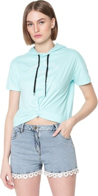 V2 Retail Limited Casual Half Sleeve Embroidered Women Blue Top