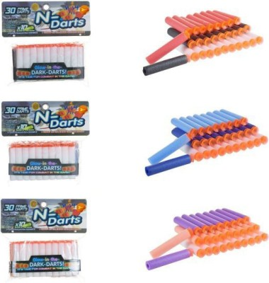 Richuzers Suction Darts 90-Pack Refill Prime Darts For Nerf Gun and Blaster Guns With Glow in the Dark Darts & Plastic Bullets(Multicolor)