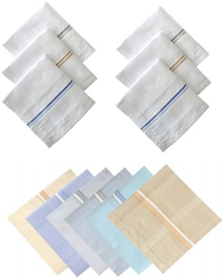 Johnnie Boy cotton handkerchief for men white and multicolor set of hand kerchief for boys (Size : 45 * 45 Cm) ( pack of 6 colored and 6 white handkerchief) [