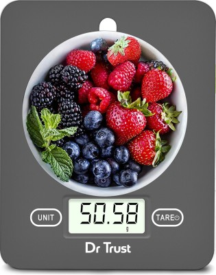 Dr. Trust (USA) Model 517 Electronic Digital LCD Kitchen Food Accurate Weight Machine for Measuring Fruits Spice Food Vegetable Water Milk Liquids Weighing Scale(Grey)
