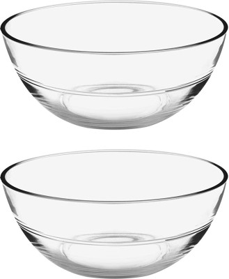 Treo JELO 420ml Glass Vegetable Bowl(Clear, Pack of 2)