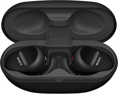 Sony WF-SP800N With 26 Hours Battery Life Active noise cancellation enabled Bluetooth Headset(Black, True Wireless)