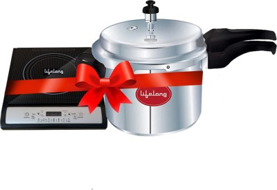 Lifelong LLCMB13 1400 W Induction Cooktop with IB 3 Ltr Outer Lid Pressure Cooker(Black, Grey, Push Button)
