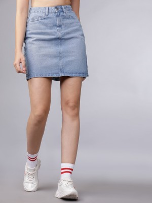 Tokyo Talkies Solid Women Skorts Light Blue Skirt