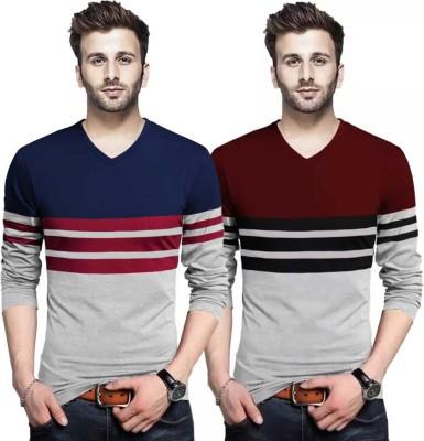 Tripr Striped Men V Neck Multicolor T-Shirt(Pack of 2)