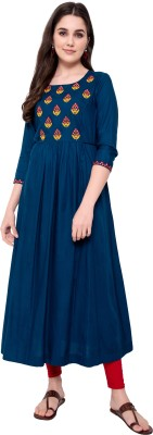 Purvija Kurties Women Embroidered Flared Kurta(Blue)