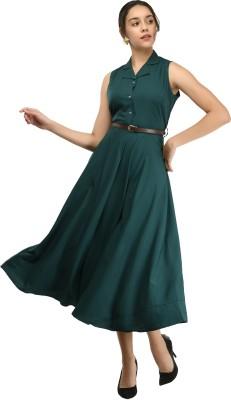 Rudraaksha Women Fit and Flare Green Dress