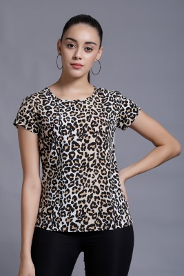 DARZI Casual Regular Sleeve Animal Print Women Multicolor Top