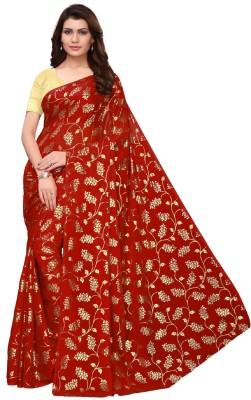 Saree Collection Floral Print Fashion Silk Blend Saree(Red)
