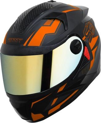 Steelbird SBH-17 Terminator Full Face Graphic Helmet in Matt Black Fluo Dark Orange Motorbike Helmet(Matt Black Fluo Dark Orange)