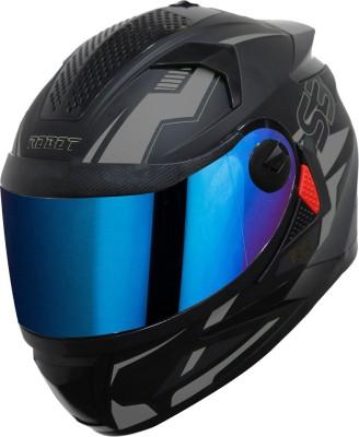 Steelbird SBH-17 Terminator Full Face Graphic Helmet in Matt Black Grey with Blue Visor Motorbike Helmet(Matt Black Grey)